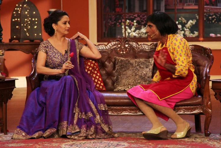Raju Shrivastava Sitting In Front Of Madhuri On Comedy Nights With Kapil Sets