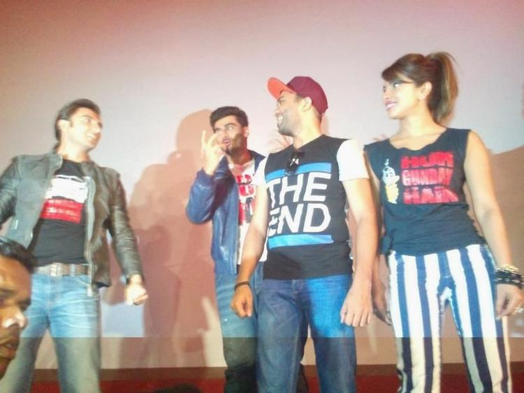 Ranveer,Arjun And Priyanka Entertained During The Promotion Of Gunday At Gaiety Theatre