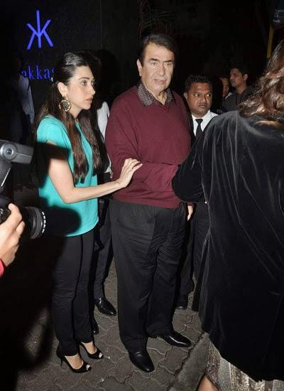Karisma Kapoor Holding Her Dad Randhir Kapoor Hand At Randhir Kapoor's Birthday Bash