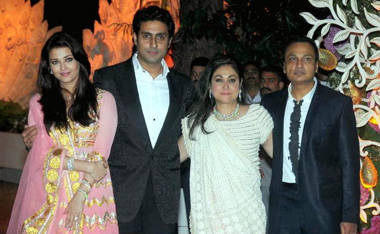 Aishwarya,Abhishek,Tina And Anil Posed At Kokilaben Ambani's Birthday Bash