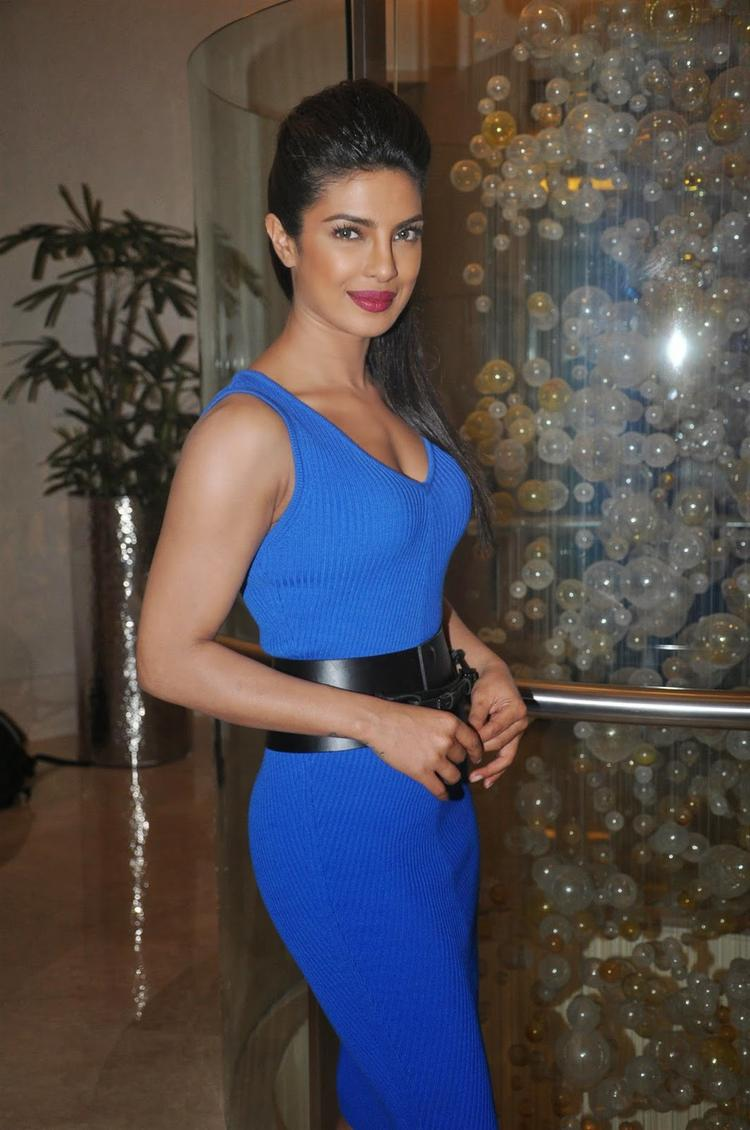 Priyanka Chopra Flaunts Her Sexy Figure In Blue Dress During The Launch Of NDTV First Dual Channel