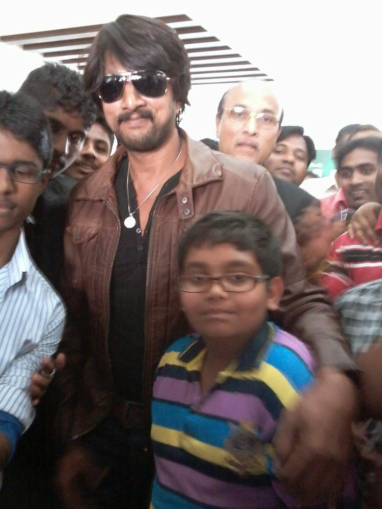 Sudeep Spotted At Belgaum To Attend Jawaharlal Nehru Medical College Kannada Balaga Annual Function