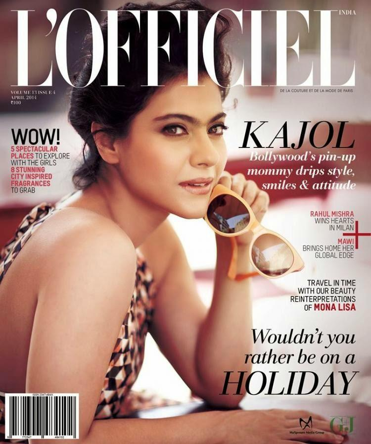 Kajol Devgan Smashing Look On the Cover Page Of L'Officiel Magazine April 2014 Issue
