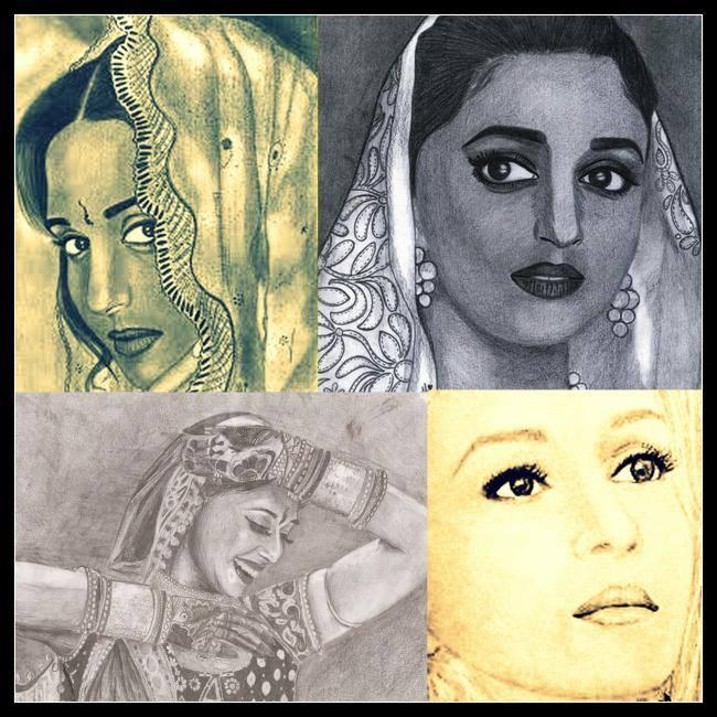 Madhuri Dixit - The Graceful Rose Beautiful Look Sketched Painting Photo Still