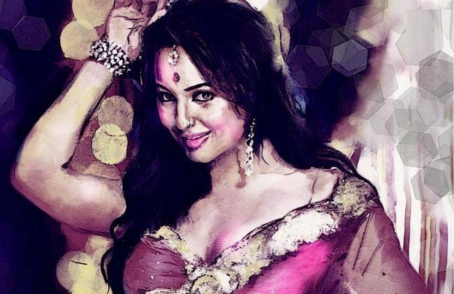 Sonakshi Sinha - Dabangg Girl Hot Look Sketched Painting Photo Still