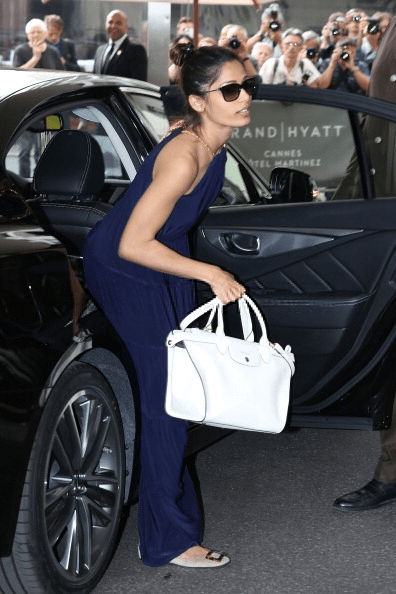 Freida Arrivers At The Outside Hotel In Cannes