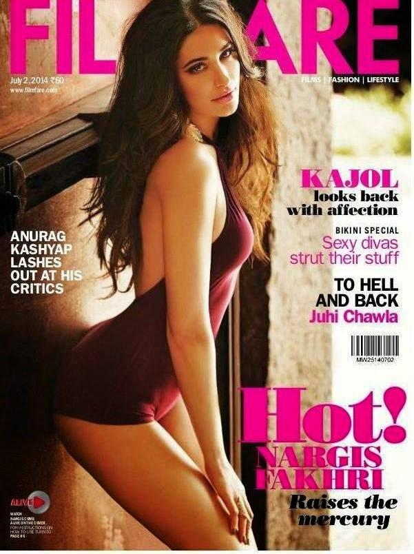 Nargis Fakhri Look Damn Hot In Beachwear On The Cover Page Of Filmfare Magazine July 2014