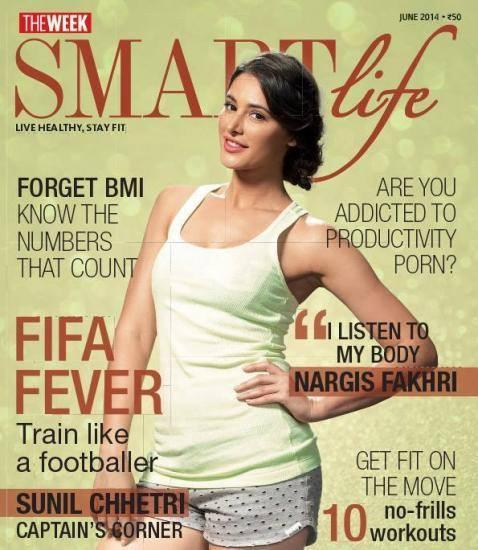 Nargis Fakhri Nice Stunning Pose On Cover Of Smart Life June 2014 Issue