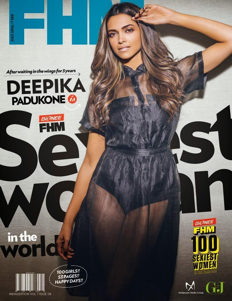 Deepika Padukone Looking Very Hot On Cover Of FHM Magazine July 2014 Issue