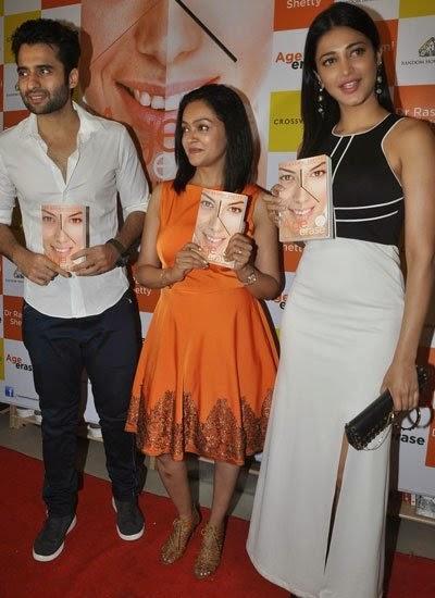 Jackky Bhagnani,Dr Rashmi Shetty And Shruti Haasan Posed With Book At The Launch Of Dr Rashmi Shetty Age Erase Book