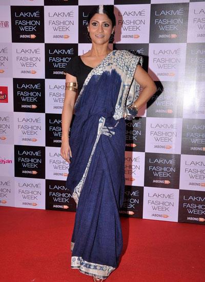 Konkona Sen Sharma In Saree At Lakme Fashion Week Summer/Resort 2014
