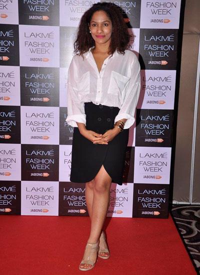 Masaba Gupta Posed In Red Carpet During Lakme Fashion Week Summer/Resort 2014