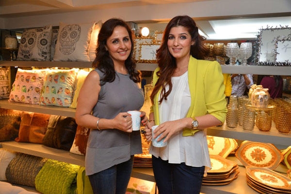 Twinkle Khanna Shares Coffee At Sanvari And Anjori Alagh Houseproud Store Launch