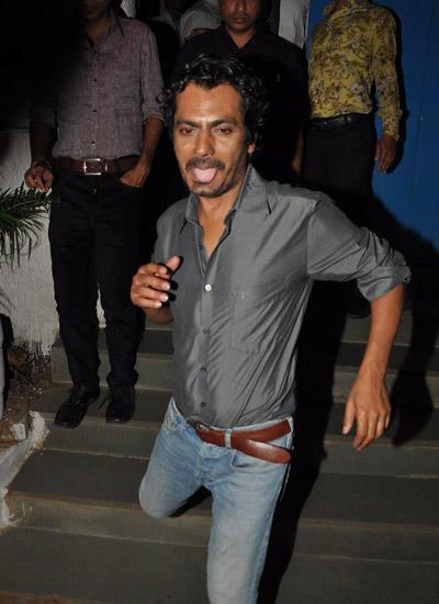 Nawazuddin Siddiqui Funny Pose For Camera At Badlapur Wrapup Bash