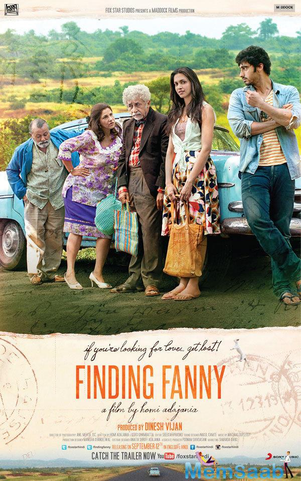 Pankaj,Dimple,Naseeruddin,Deepika And Arjun Posed Still In Finding Fanny Movie Poster