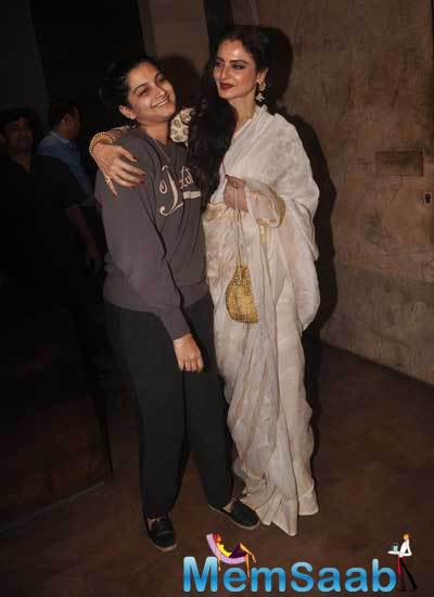 Rekha Shown Affection And Appreciation Towards Rhea At The Special Screening Of Khoobsurat