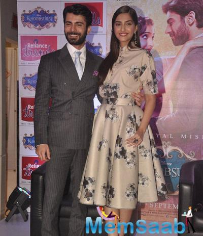 Sonam And Fawad Strikes A Pose For Camera During Khoobsurat Promotion