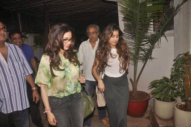 Sridevi Kapoor And Jhanvi Kapoor Snapped During The Screening Of Tapaal Movie