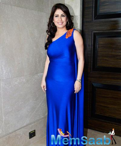 Smiling Amrita Raichand Stunning Look In Blue Gown During FC Goa Official Jersey Launch
