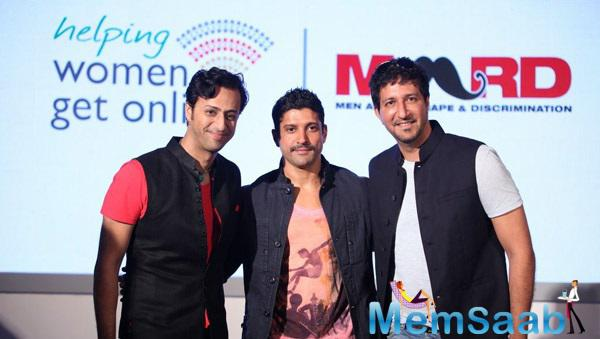 Salim Merchant,Farhan Akhtar And Sulaiman Merchant Clicked During The Launch Of MARD Song