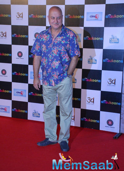 Anupam Kher Clicked In Colourful And Bright Shirts At Shaukeens Trailer Launch