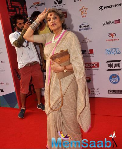 Dolly Thakore Nice Look On Red Carpet During The Opening Ceremony Of 16th Mumbai Film Festival 2014