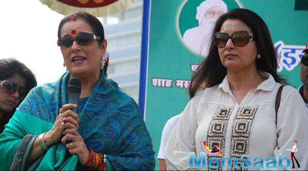 Poonam Sinha Addresses The Media And Poonam Dhillon Looks On During 4th Inauguration Mega Cleanliness Drive
