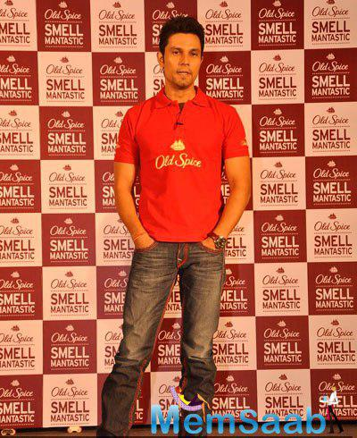 Randeep Hooda Dashing Look In Red Tee During The Launch Of Old Spice Deodrant