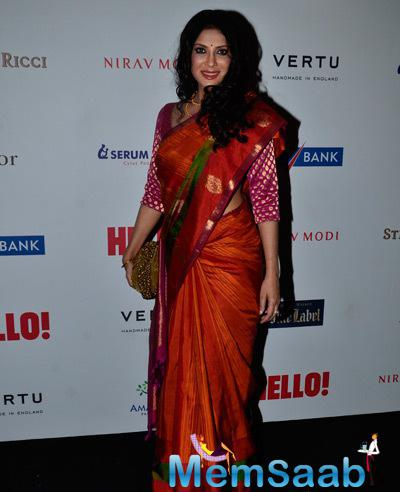 Nandana Sen In Red Saree Radiant Trendy Look At The Hello! Hall Of Fame Awards 2014