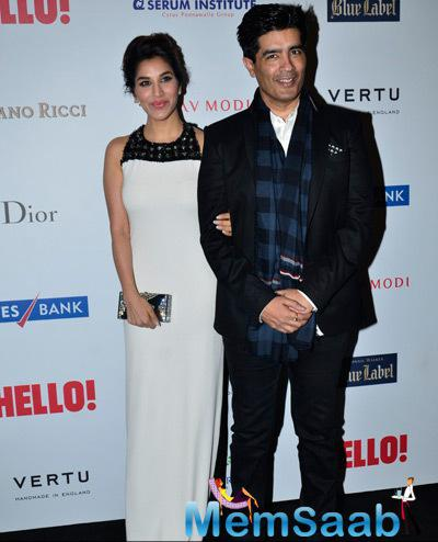 Sophie Choudry Posed With Designer Manish Malhotra At The Hello! Hall Of Fame Awards 2014