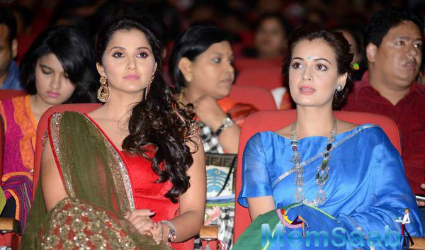 Sania Mirza And Dia Mirza Attend The National Children Film Festival 2014