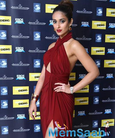 Ileana D'Cruz Gorgeous In Red Gown With Red Lippy During Happy Ending Movie Premiere