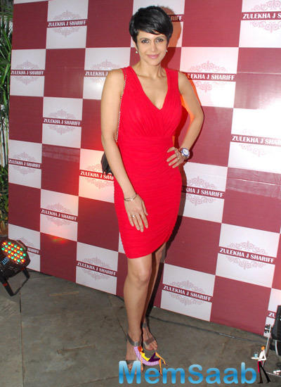 Mandira Bedi Strikes A Pose During The Launch Of Zluekha Shariff Collection