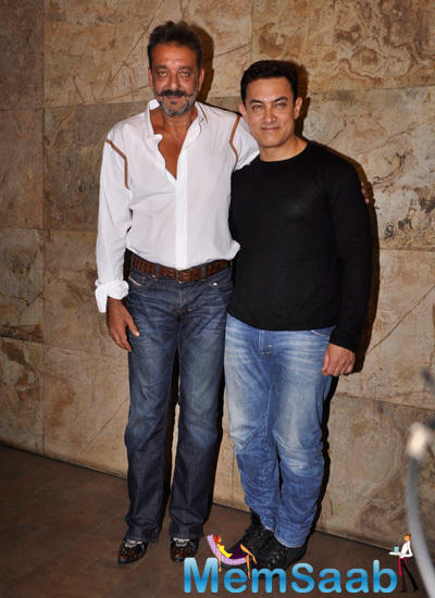 Sanjay Dutt Posed With Aamir Khan During The Special Screening Of PK Movie