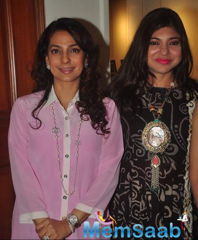 Juhi Chawla And Alka Yagnik Strike A Pose For Shutterbugs At The Launch Of The Curse Of Winwoods
