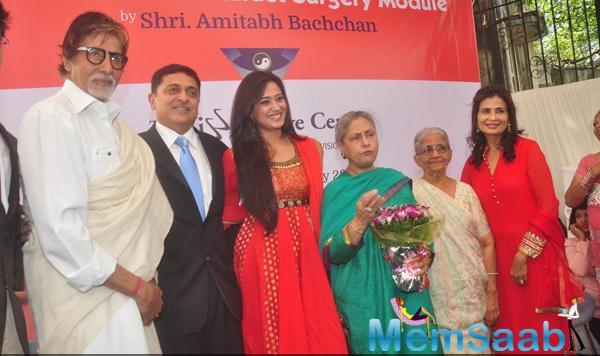 Amitabh Bachchan,Shweta Tiwari,Jaya Bachchan And Others Posed During The Launch Of Eye Care Technology