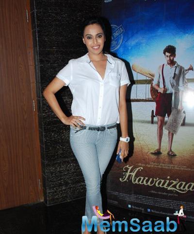 Swara Bhaskar Cool Stunning Look During The Special Screening Of Hawaizaada Movie