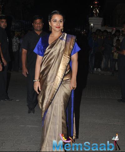 Vidya Balan In Saree Traditional Look At 60th Britannia Filmfare Awards 2015