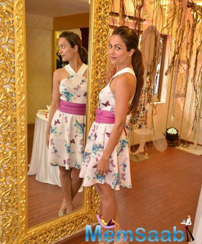Amrita Arora Pose During The Ashna Gupta Kalra Flagship Store The Ash Haute Couture