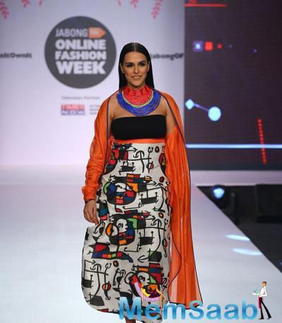 Neha Dhupia Graced On Ramp At Jabong Online Fashion Week 2015