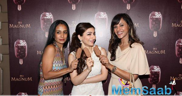 Suchitra Pillai And Soha Ali Khan Cool Pose During The Launch Of Magnum Ice cream