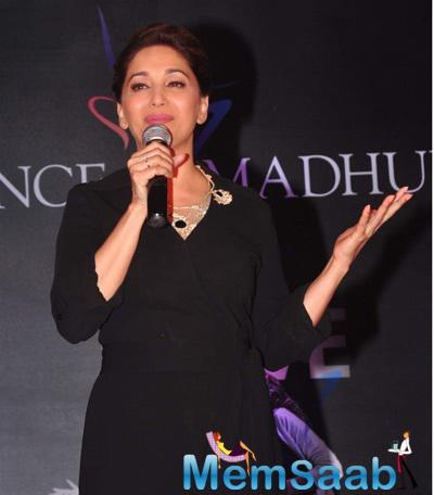 Madhuri Dixit Interacts With Media At The Launch Of Madhuri Dixit Nene Online Dance Academy