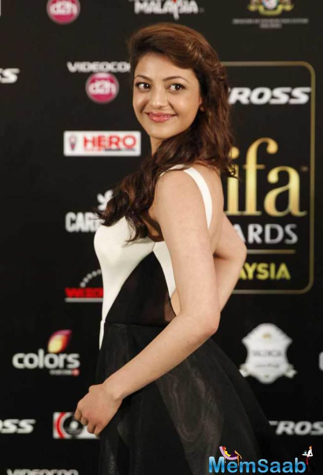 Kajal Agarwal Walked The Green Carpet Wearing A Black And White Gauri And Nainika