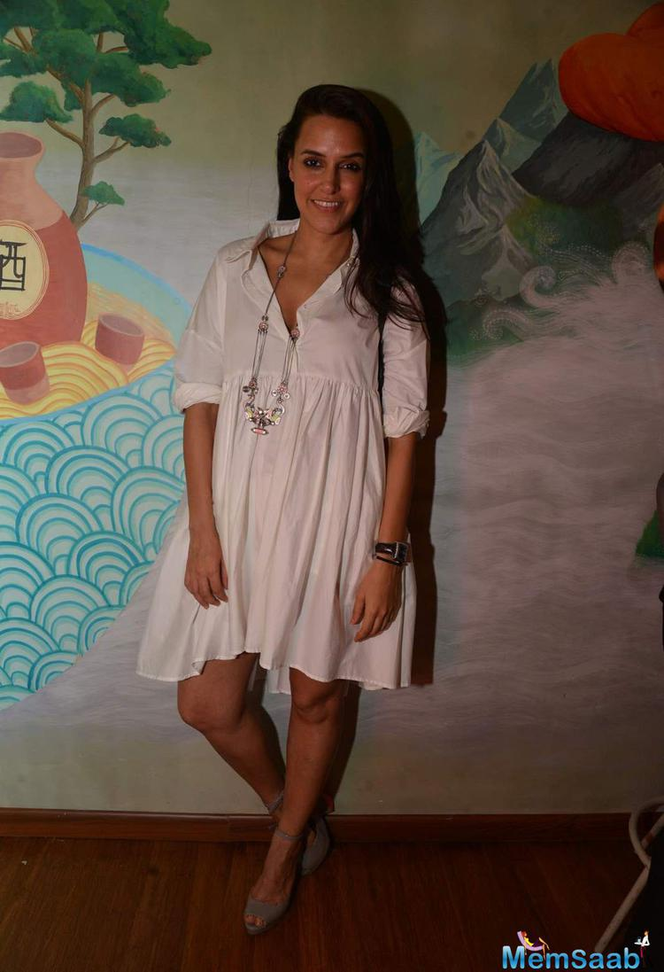 Neha Dhupia Hot Look During The Launch Of Fatty Bow Restaurant In Mumbai