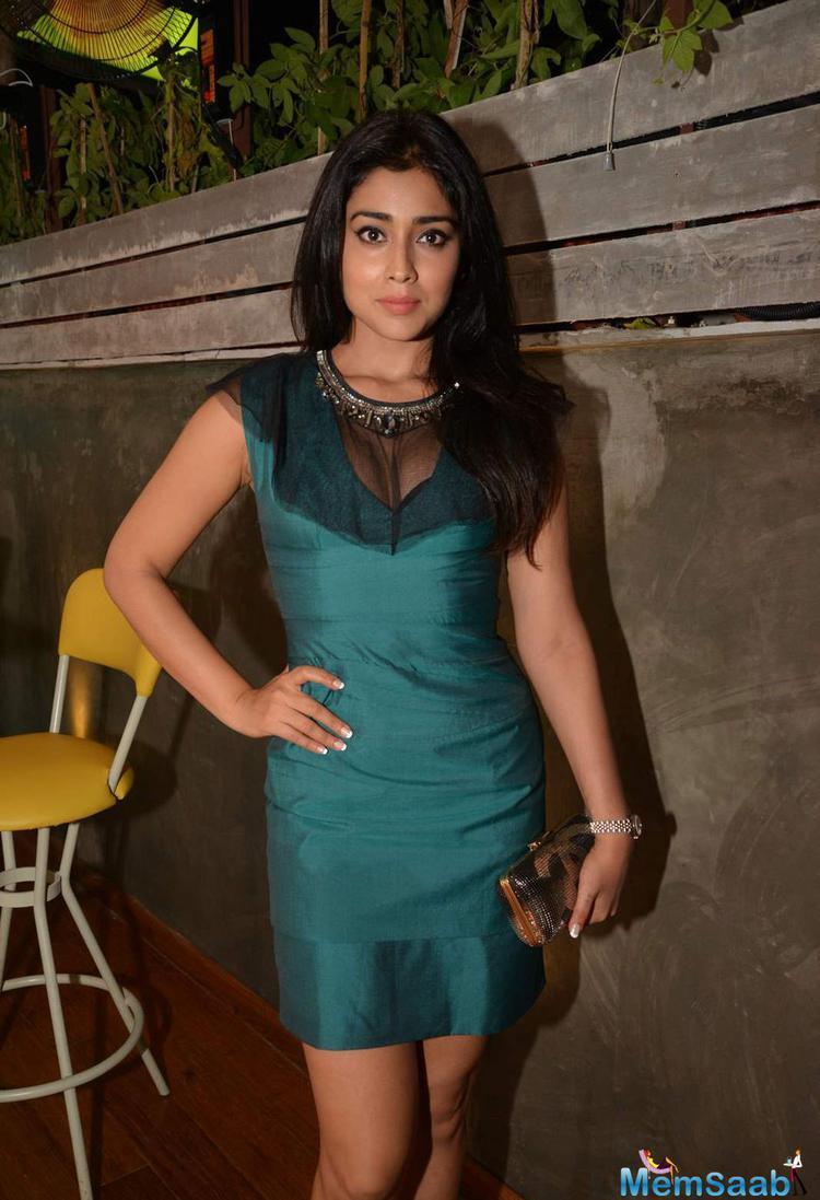 Shriya Saran Sexy Hot Look In Short Dress At The Launch Of Fatty Bow Restaurant