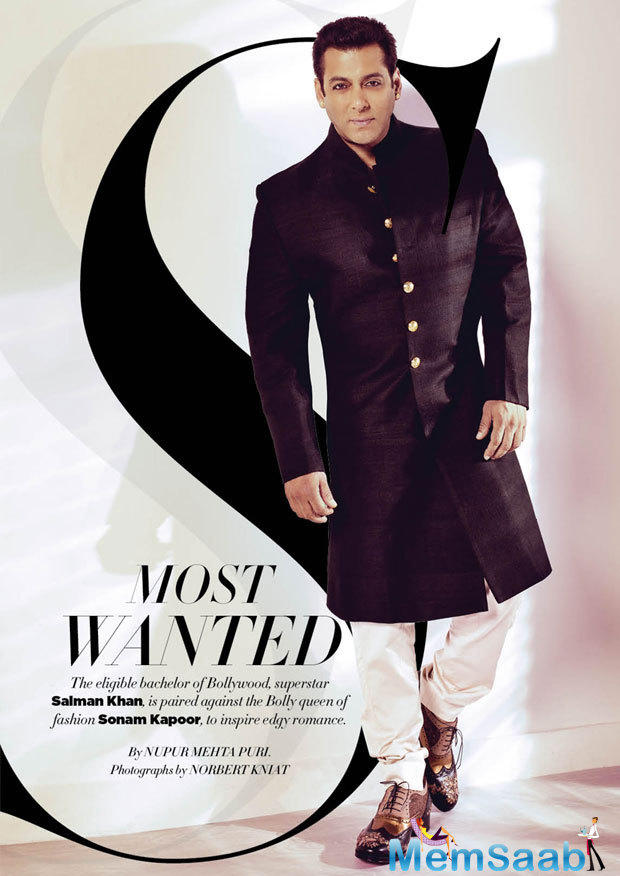 The Most Wanted Bollywood Hunk Salman Khan Dashing Look For Harper's Bazaar Bride October Issue