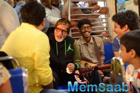 Big B Travels In Mumbai Local Train To Lend His Support For Cancer Charity