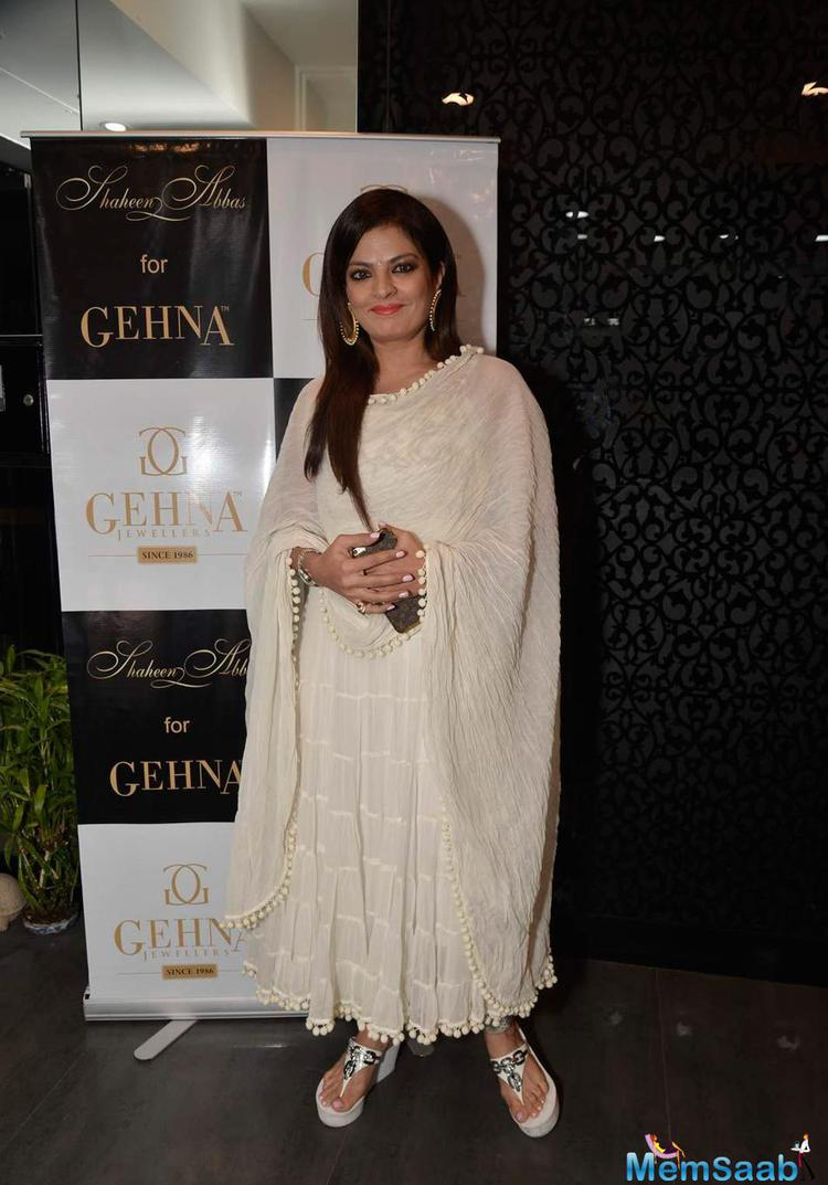 Sheeba Posed At Shaheen Abbas Collection Launch In Gehna Store