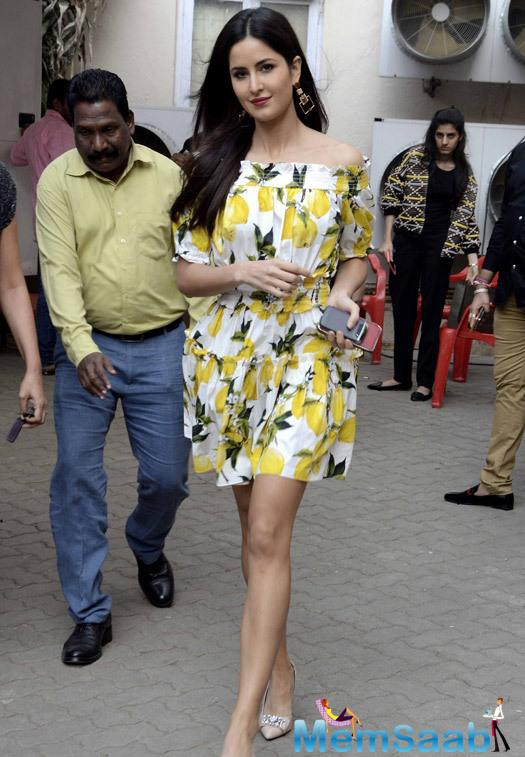 Katrina Kaif at the Mehboob studios in Mumbai for the music channel interviews for the film