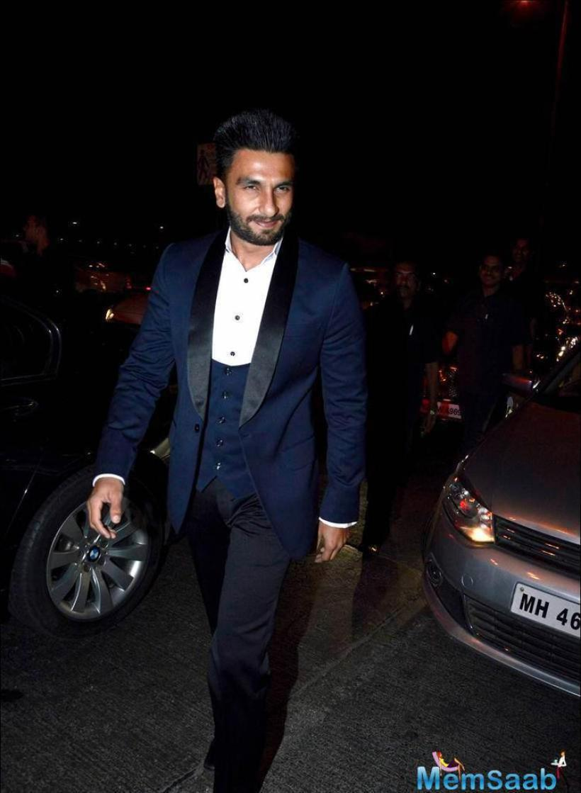 Ranveer Singh spotted with dashing look at his friend's cocktail party